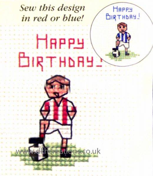 Little Footballer Card Cross Stitch Kit